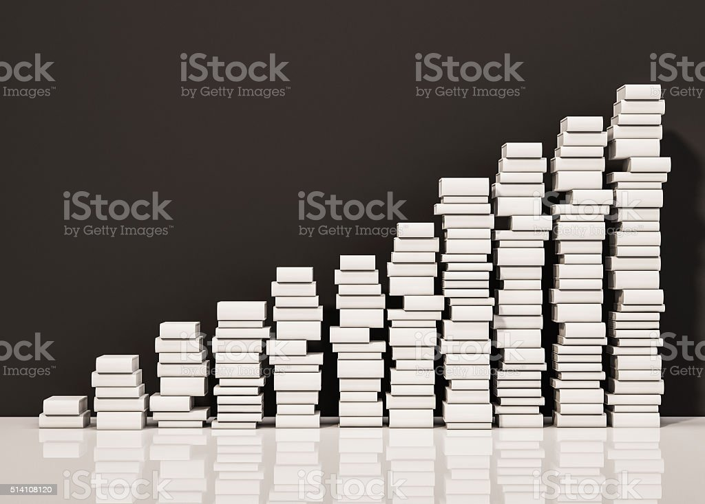 Piles of whiite books step rising up, 3d rendered Piles of whiite books step rising up, 3d rendered Abstract Stock Photo