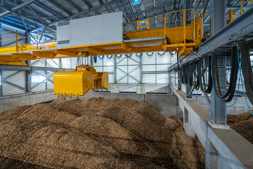 Biofuel boiler house, storage of wood chips