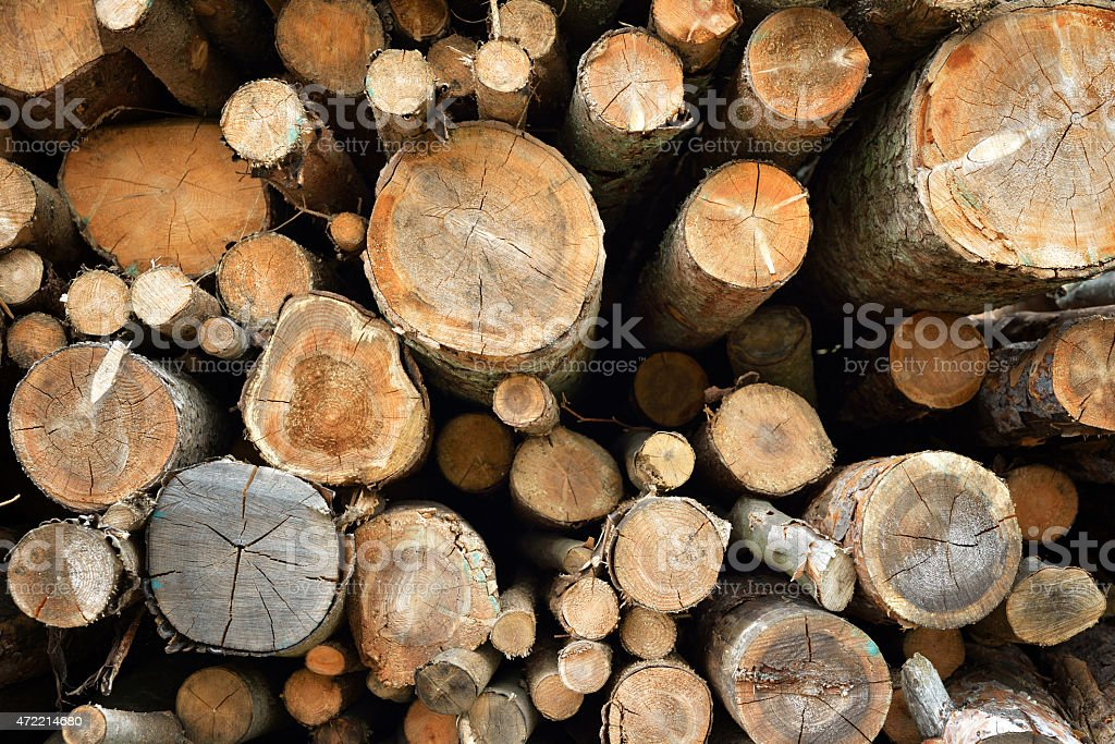 Piles of wood in a stack stock photo