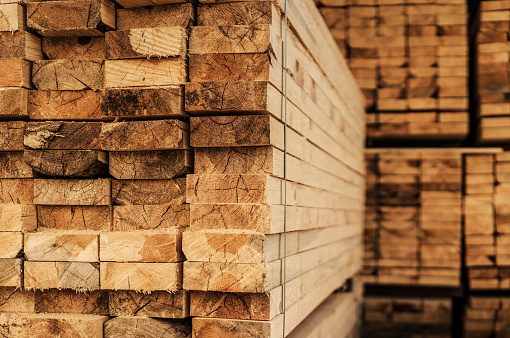 Piles of wood planks in timber yard