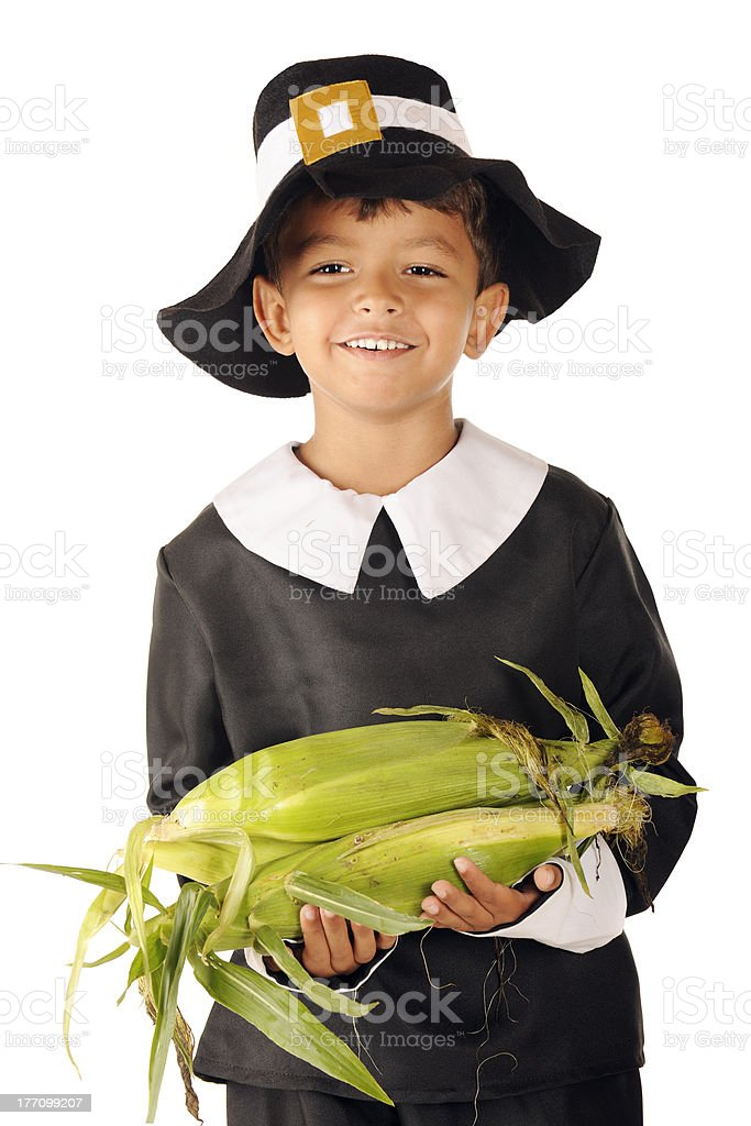 Pilgrim Corn-Holder stock photo