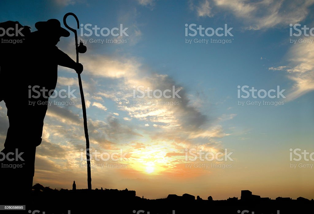 Pilgrim doing the pilgrimage way to Santiago stock photo