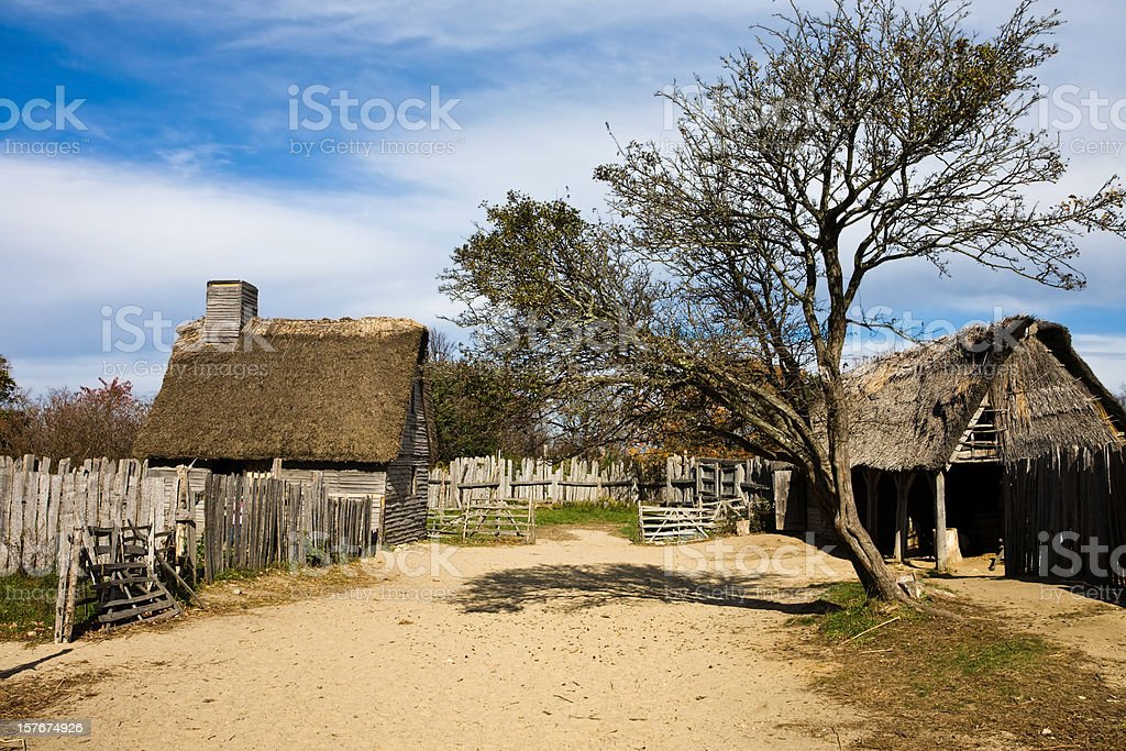 Pilgrim farm and home stock photo