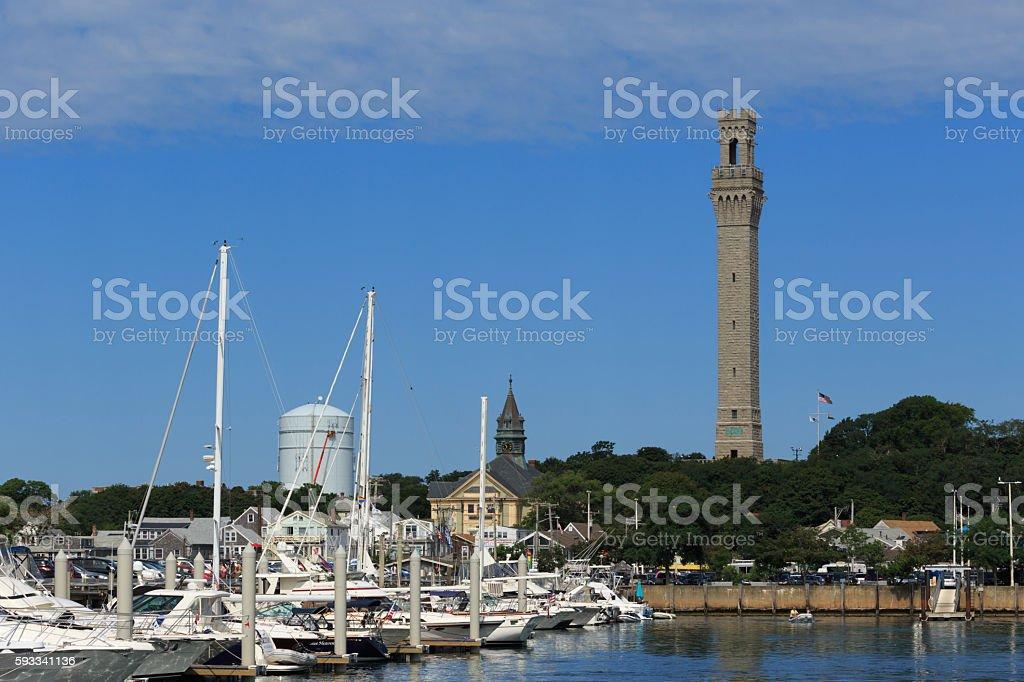 Pilgrim Monument in Provincetown Harbor stock photo