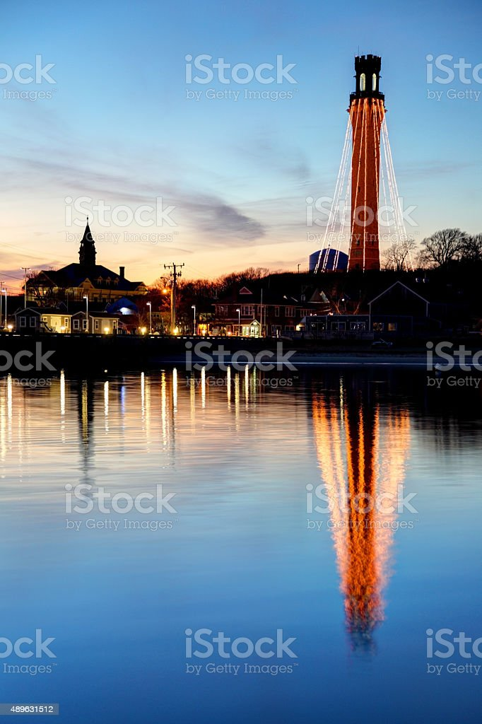 Pilgrim Monument on Cape Cod decorated with lights for Holidays stock photo