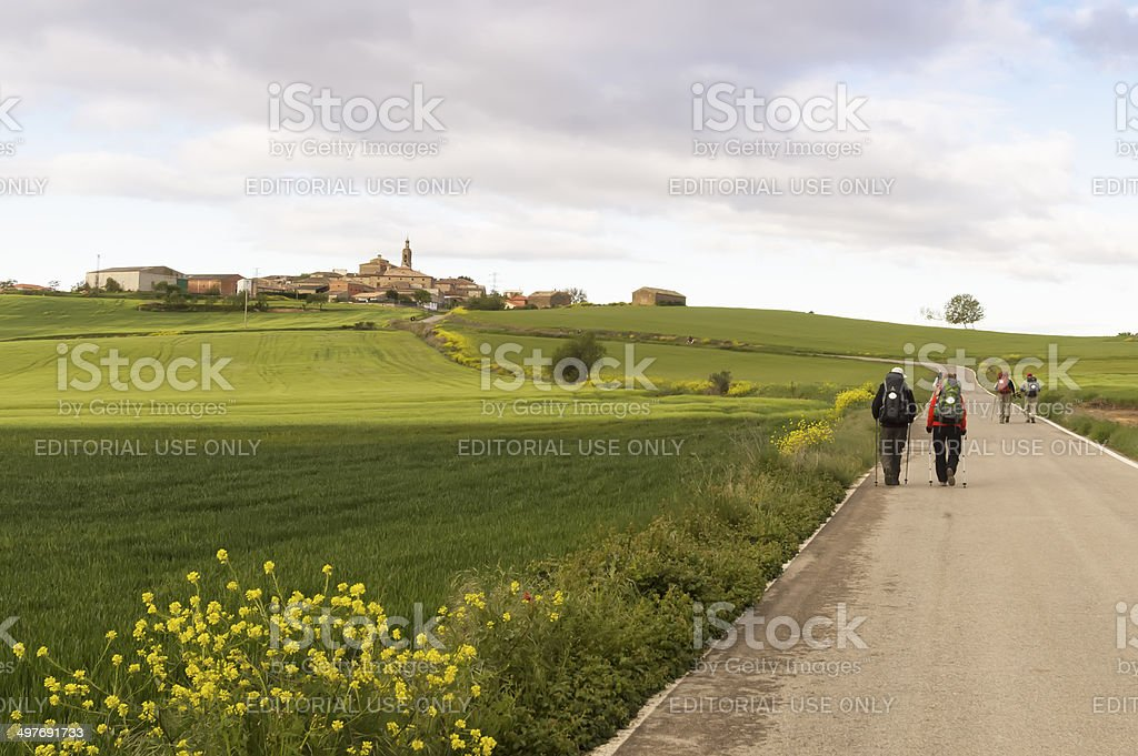 Pilgrim on the road to Santiago de Compostela in Burgos stock photo