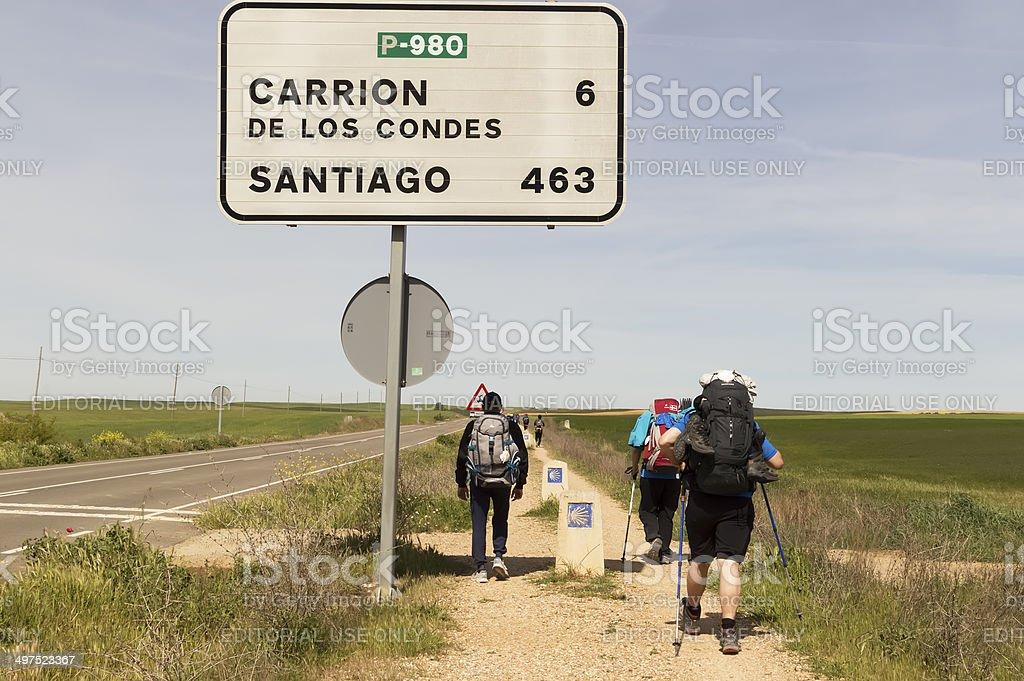 Pilgrim on the road to Santiago de Compostela stock photo