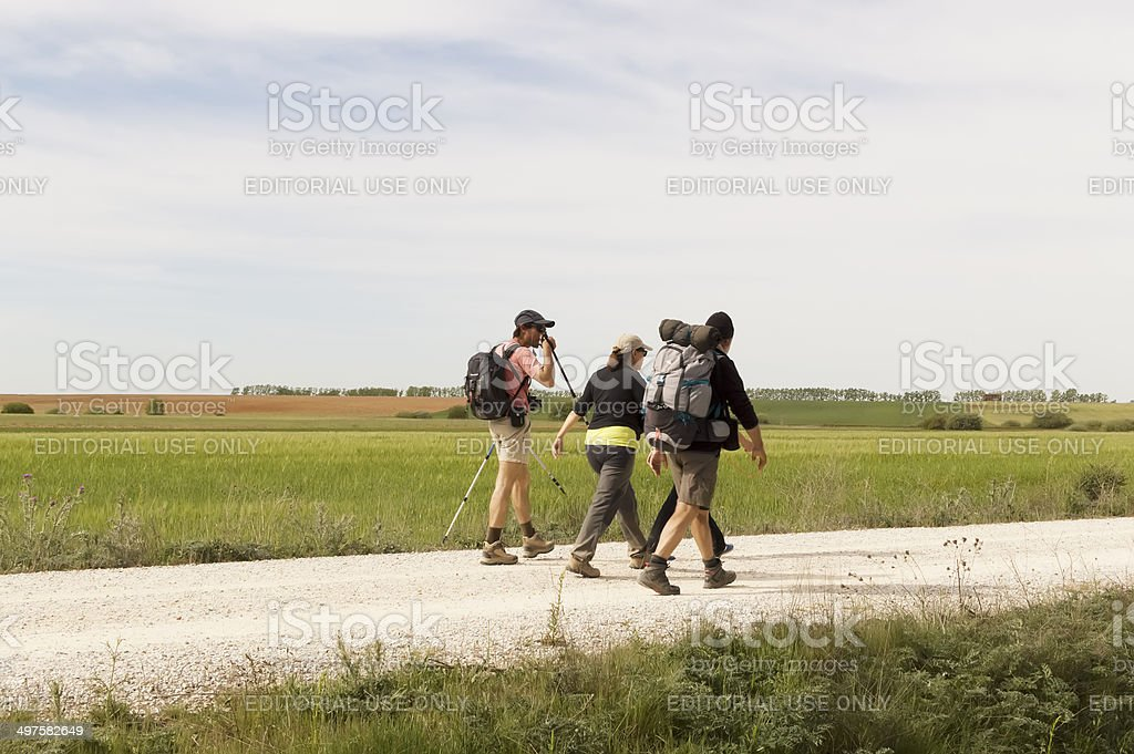 Pilgrim on the road to Santiago de Compostela stock photo