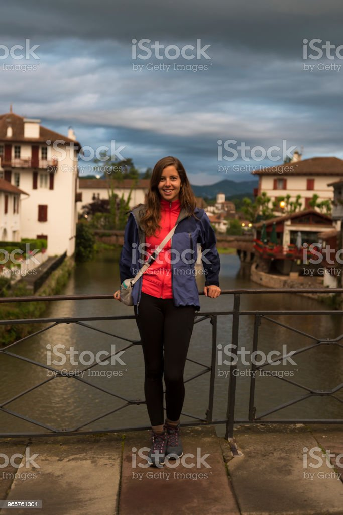 Pilgrim ready to begin the Camino in Saint-Jean-Pied-de-Port - Royalty-free 25-29 Years Stock Photo