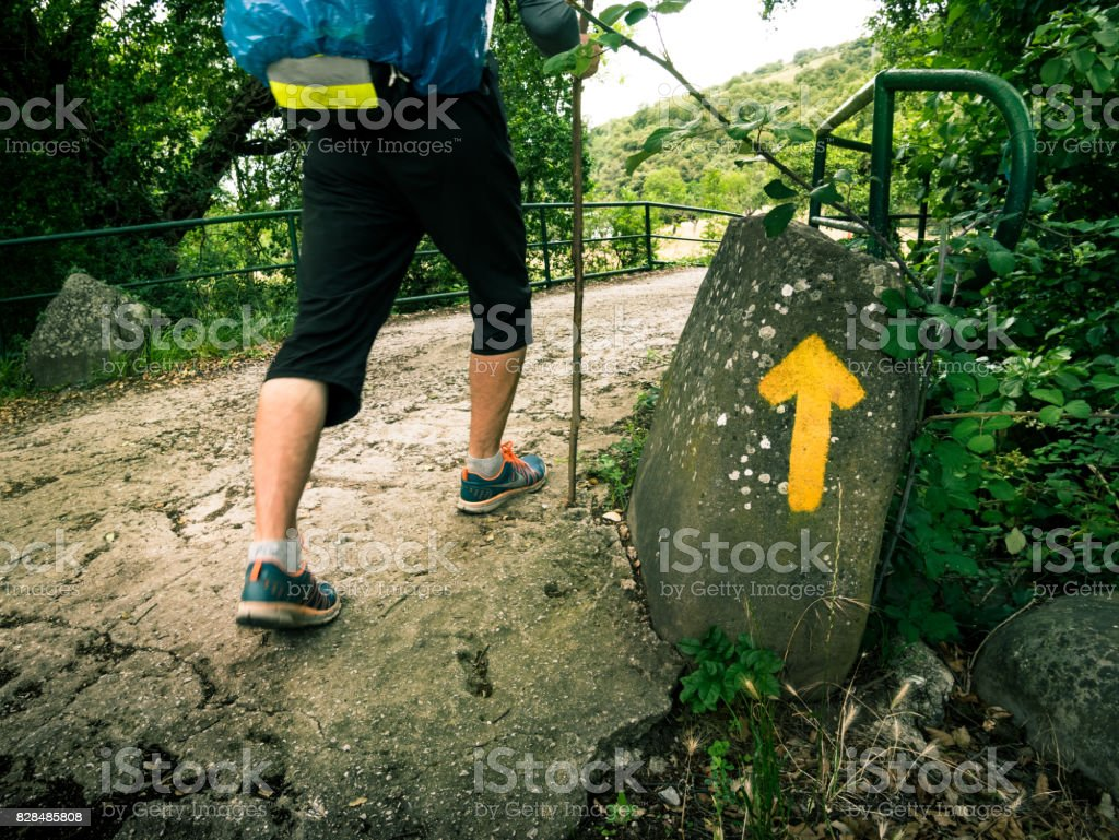pilgrimage at Camino de Santiago stock photo