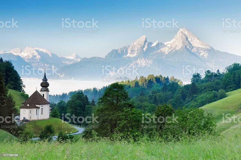Pilgrimage Church Maria Gern with Watzmann in background stock photo