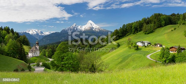 Maria Gern Church in Bavarian Alps on Mountain Panorama view