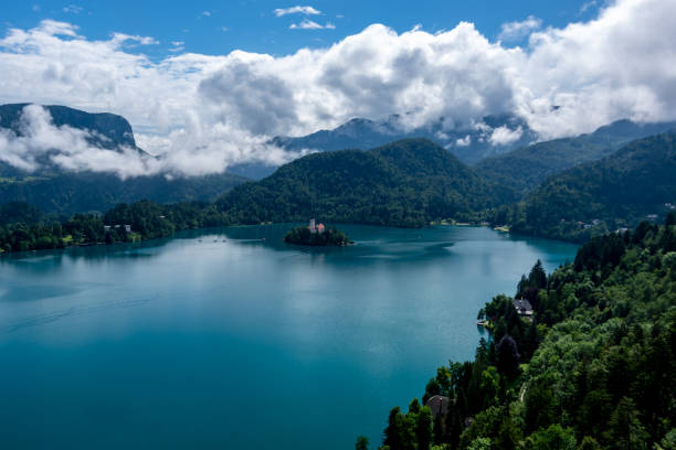 Pilgrimage Church of the Assumption of Maria, Lake Bled stock photo