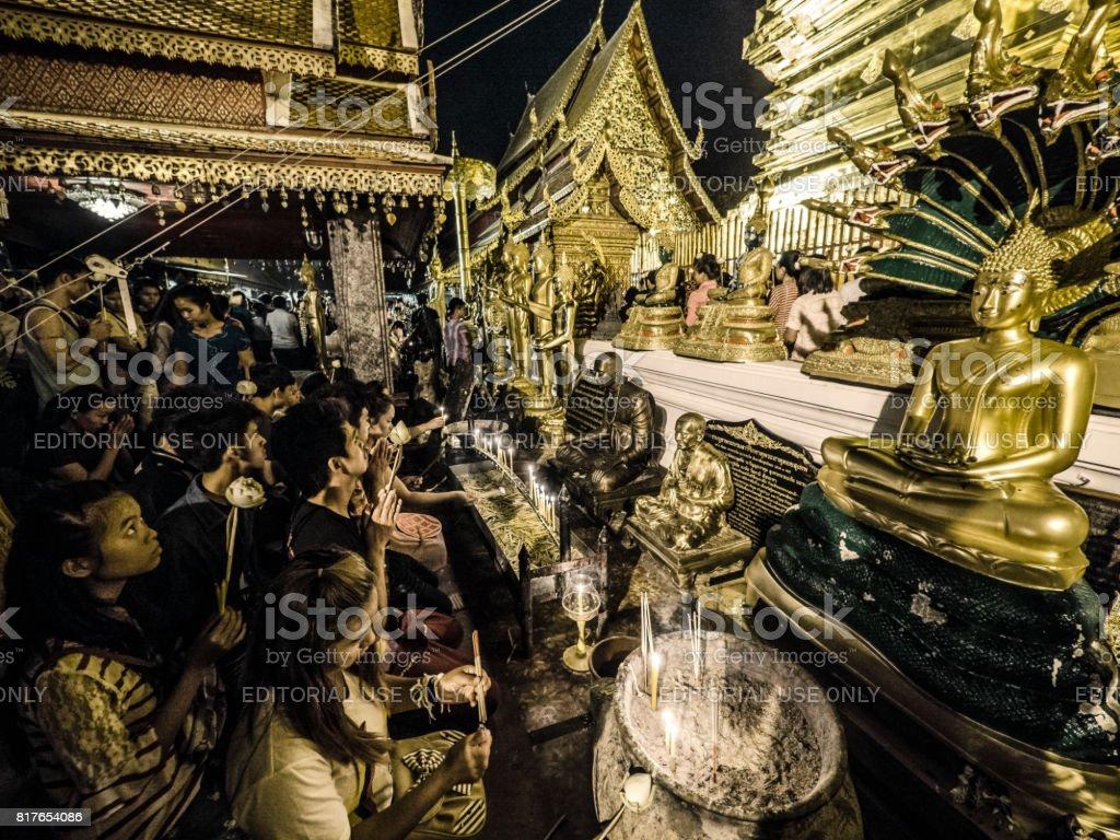 Pilgrimage to Wat Phra That Doi Suthep Chiang Mai Thailand stock photo
