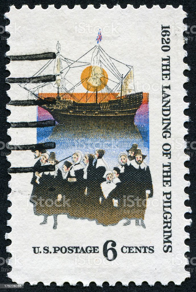 Pilgrims Arriving In America Stamp royalty-free stock photo