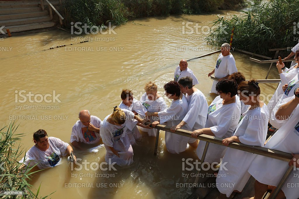 Pilgrims at the Baptism Site Qasr el Yahud. Israel stock photo