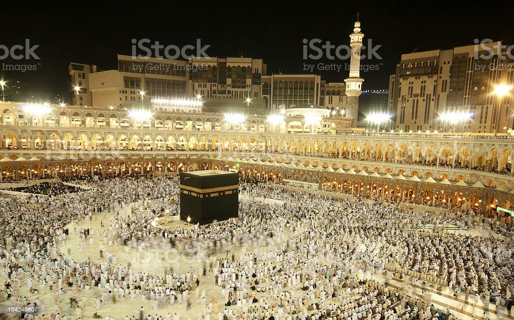 Pilgrims circumambulate the Kaabah stock photo