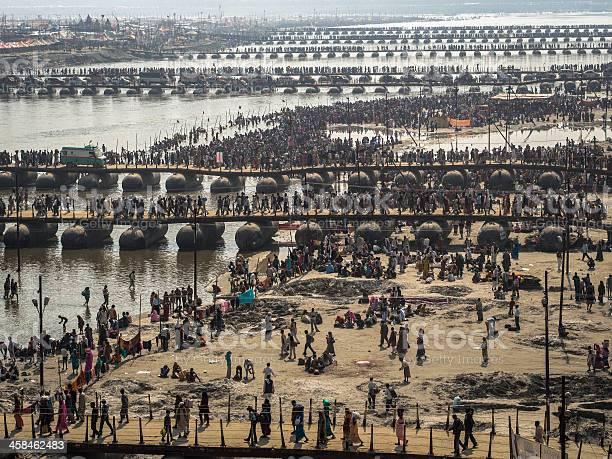 Pilgrims Crossing the Pontoon Bridges at Kumbh Mela 2013