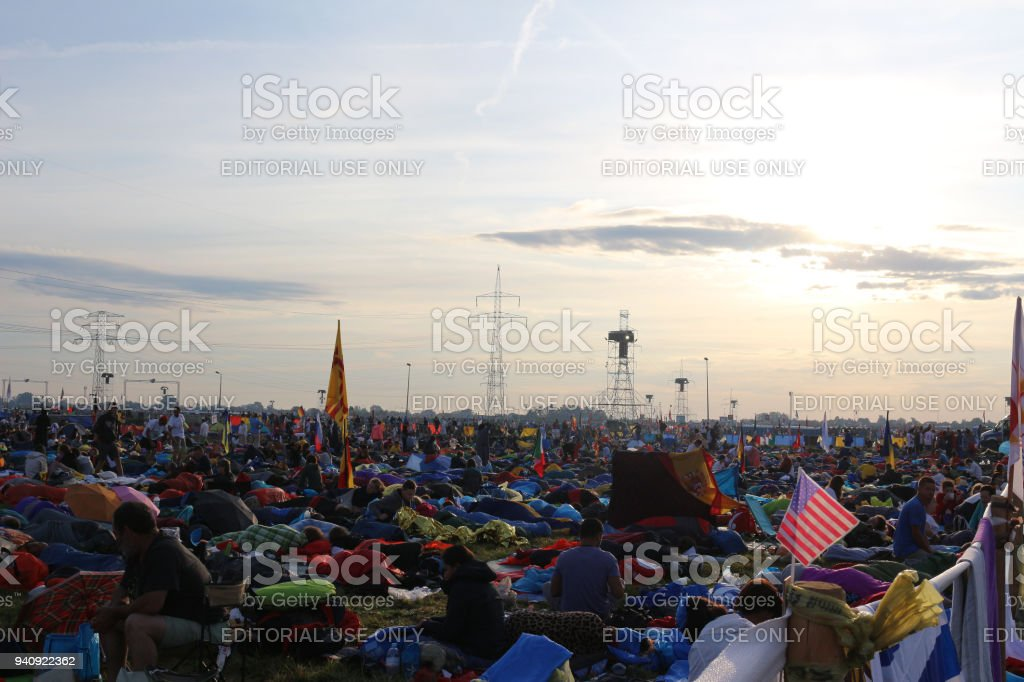 Pilgrims from all over the world stock photo