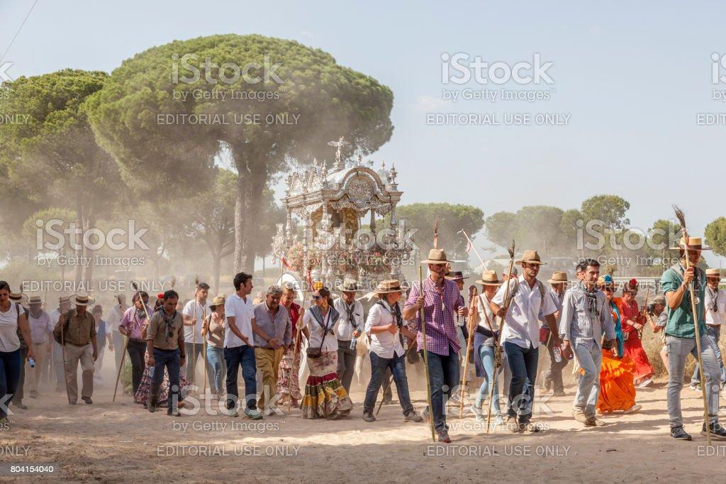Pilger in El Rocio, Spanien Lizenzfreies stock-foto
