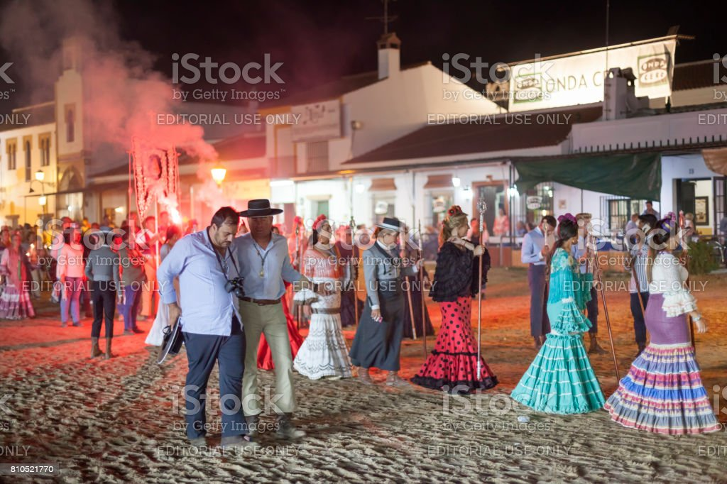 Pilgrims in El Rocio, Spain stock photo