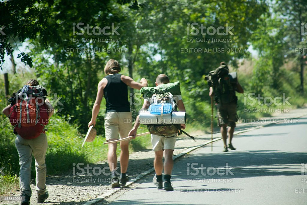 Pilgrims in the 'camino de Santiago'. stock photo