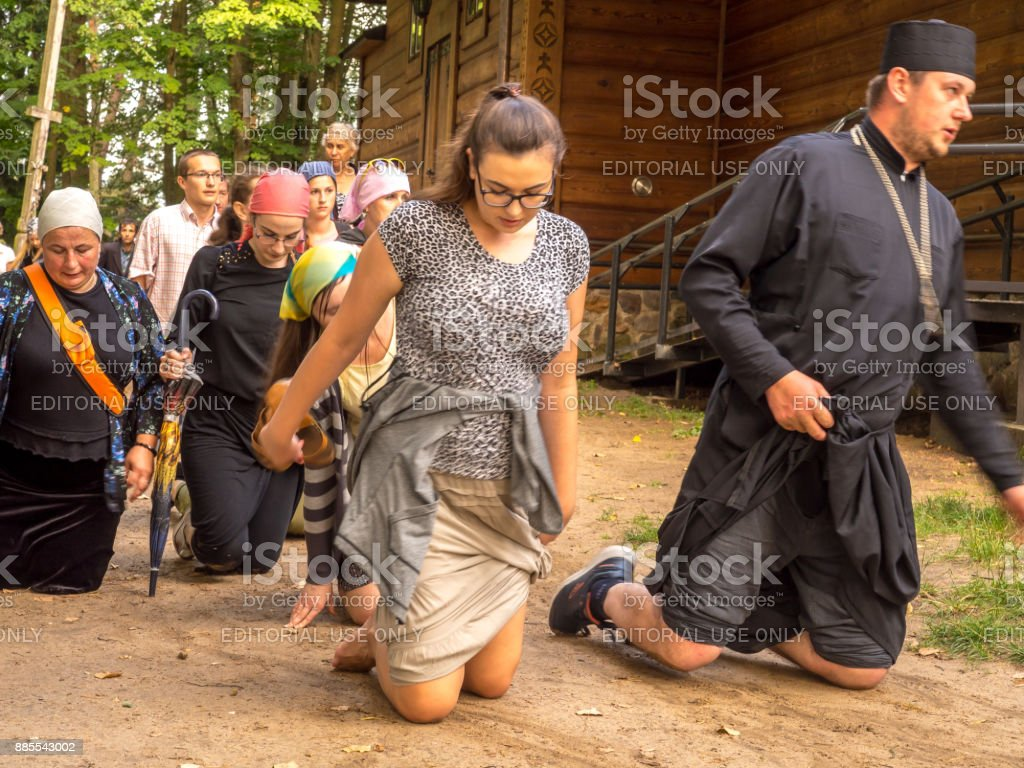 Pilgrims of the Orthodox Church stock photo