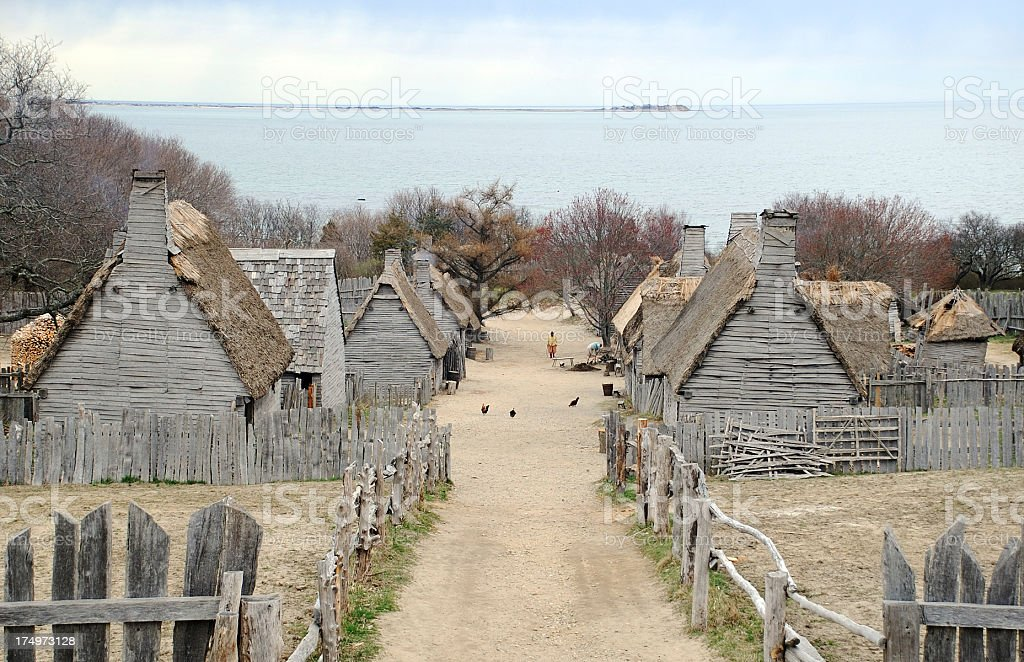 Pilgrims Settlement stock photo