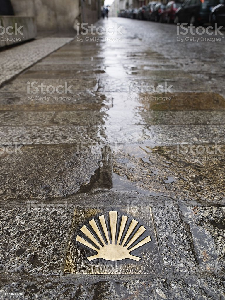 Pilgrim's shell (Venera) in the way of Santiago de Compostela. stock photo