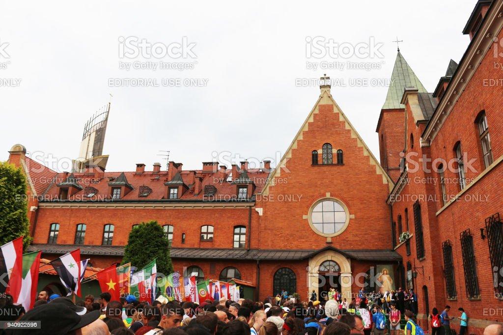Pilgrims waiting outside sister Faustina Kowalska's chapel stock photo