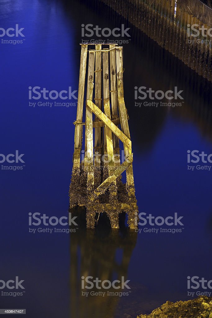 Piling in the Blue royalty-free stock photo