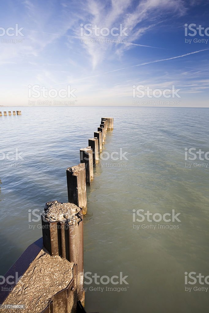 Pilings in Lake Michigan royalty-free stock photo