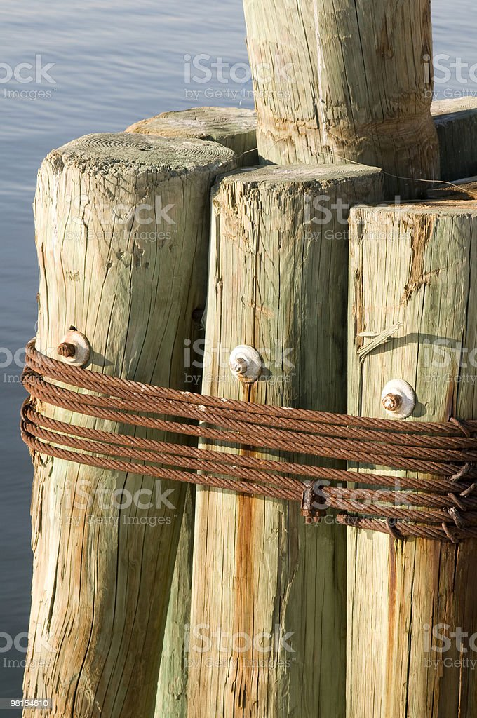 Pilings strapped together at commercial dock royalty-free stock photo
