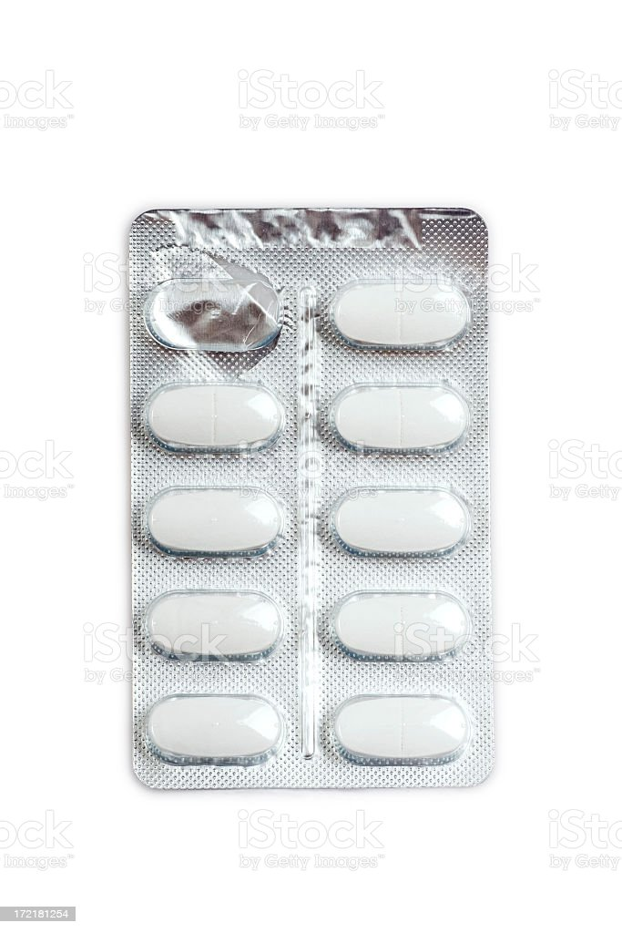 Pill blister pack with one tablet cell empty royalty-free stock photo