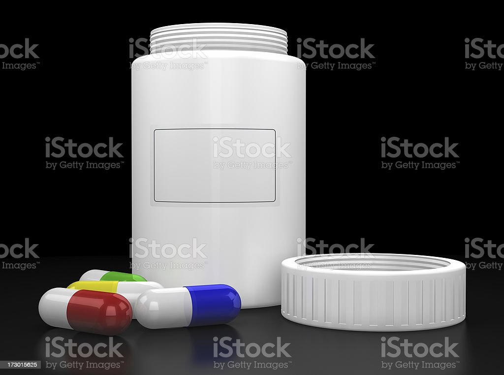 Pill Bottle and pills royalty-free stock photo
