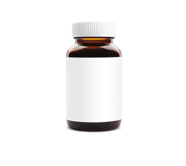 pille leer flaschenetikett mit kappe - braunglasflaschen stock-fotos und bilder