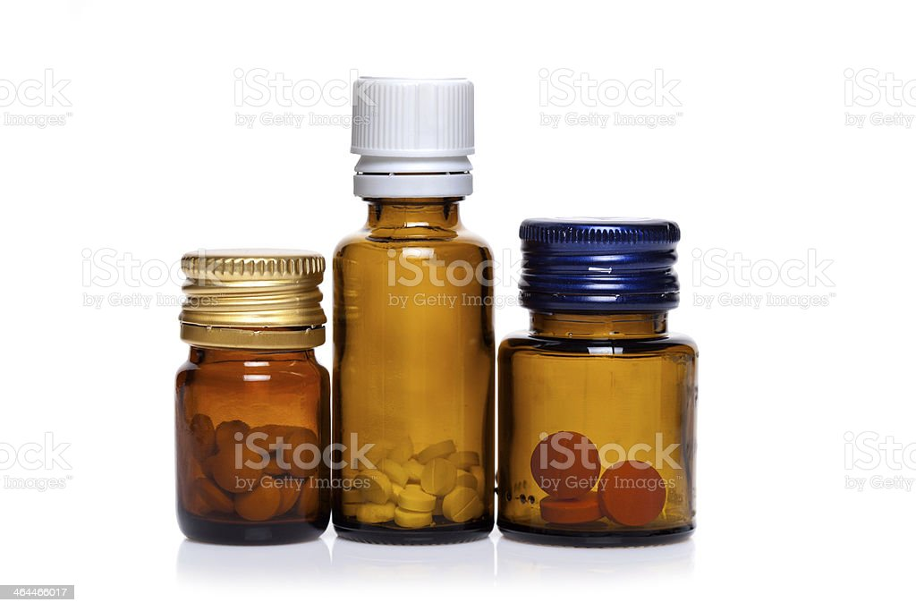 Pill bottle with pills royalty-free stock photo