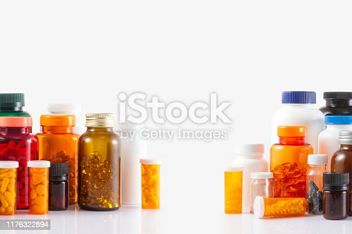 Pill bottles isolated on white background