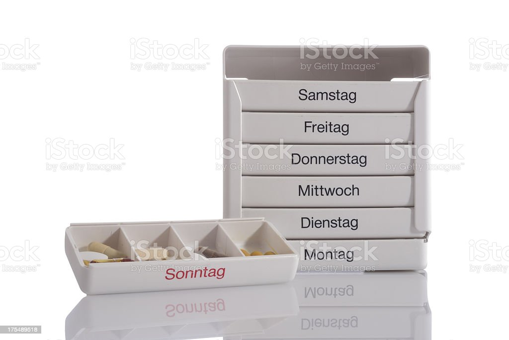 Pill box for everyday of the week. German language. stock photo