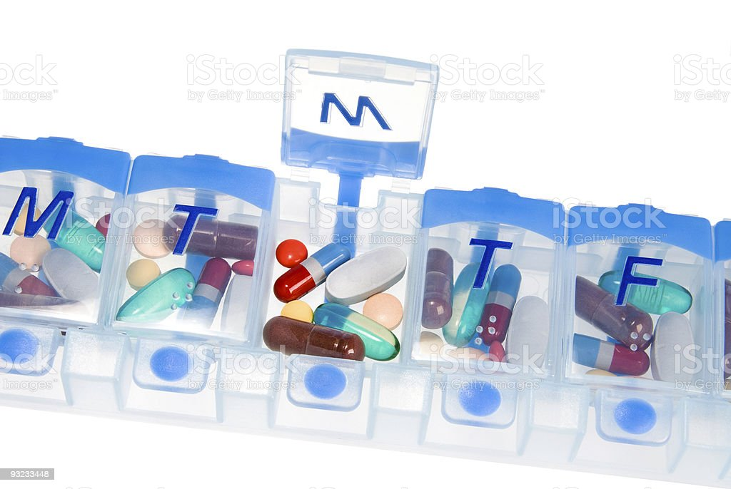 Pill box for medication stock photo