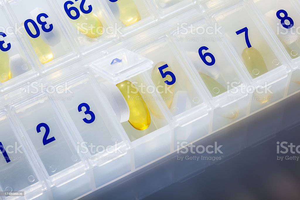 Pill Box of Daily Medications, Vitamins, Supplements royalty-free stock photo