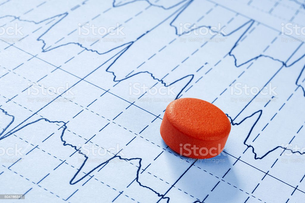 pill on the cardiogram background stock photo