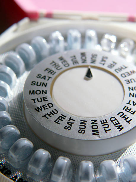 A pill organiser with days of the week stock photo