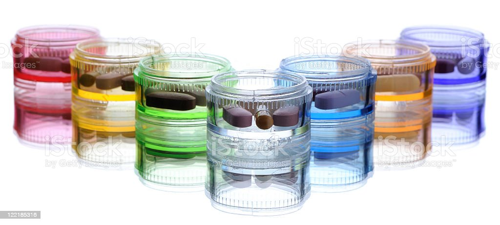 Pill Organizers with Seven Days of Medicine stock photo