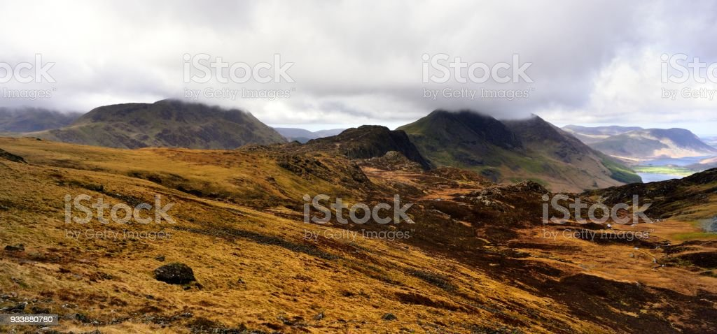 Pillar and the Buttermere Fells in low cloud stock photo