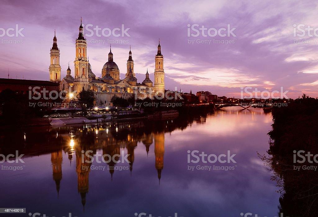 Pillar basilica in Zaragoza, Spain. stock photo