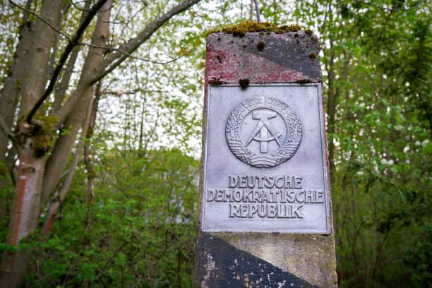 Pillar on the former inner German border stock photo