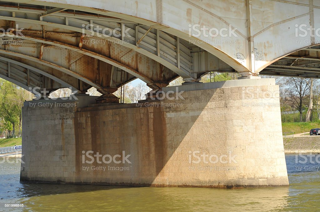 Pillar under bridge stock photo