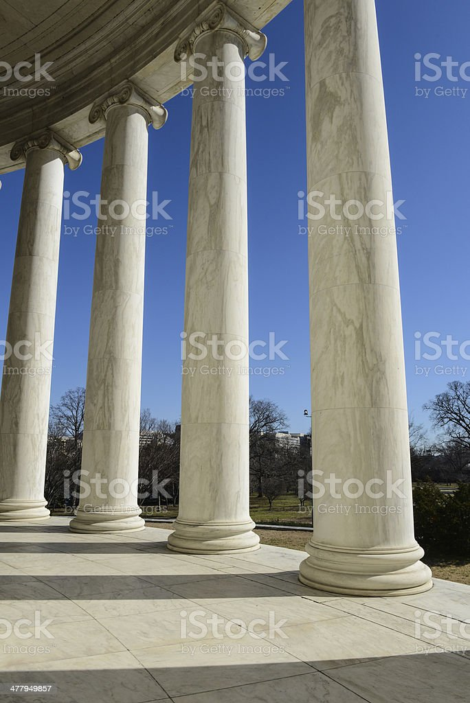Pillars at Jefferson Memorial Building stock photo