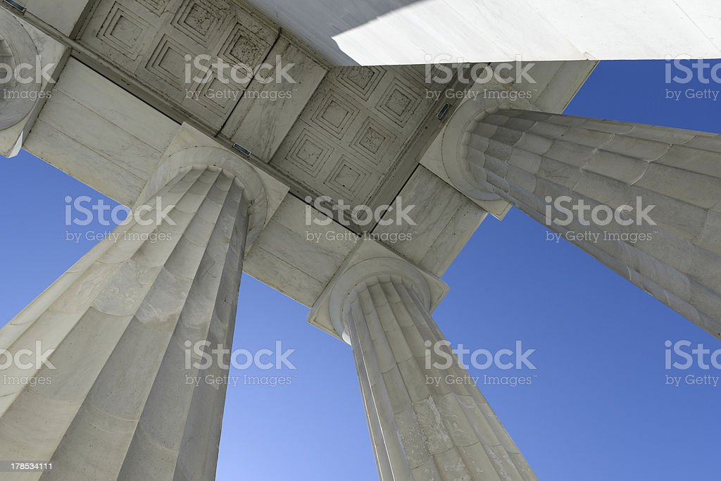 Pillars at the Lincoln Memorial royalty-free stock photo